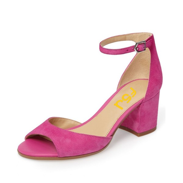 Pink Soft Suede Chunky Heels Peep Toe Ankle Strap Sandals image 1