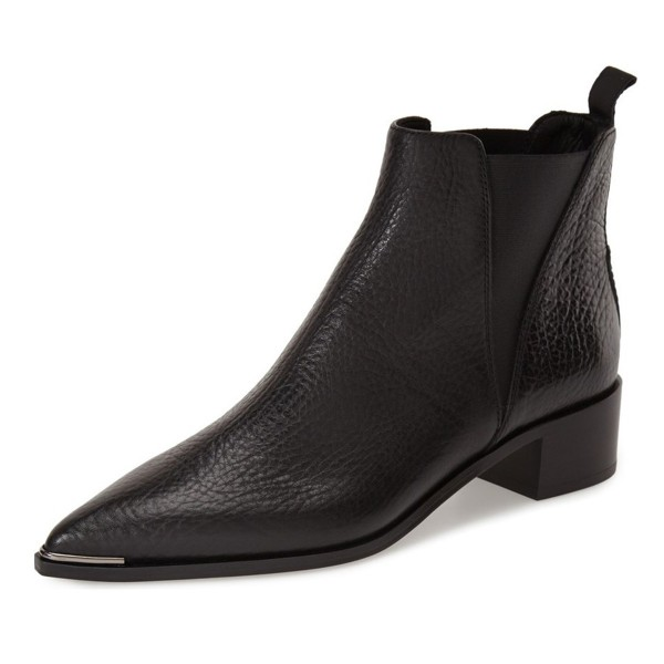 Black Chelsea Boots Pointy Toe Slip-on Chunky Heel Ankle Boots image 1