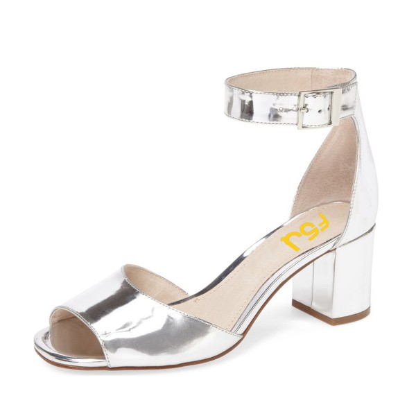 Women's Silver Patent Leather Peep Toe Heels Ankle Strap Sandals image 1