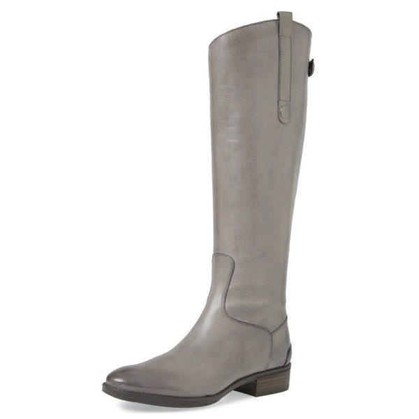 Grey Riding Boots Back Zipper Low Heel Fashion Knee Boots US Size 3-15 image 1