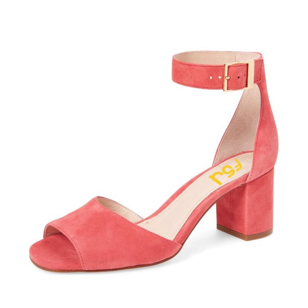 Pink Block Heel Sandals Ankle Strap Suede Sandals image 1