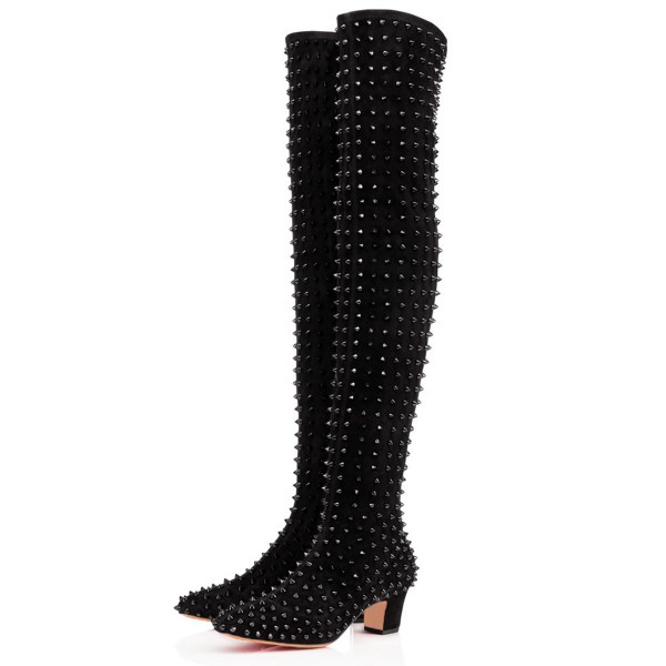 Black Chunky Heel Boots Rivets Pointy Toe Ove-the-Knee Boots image 1