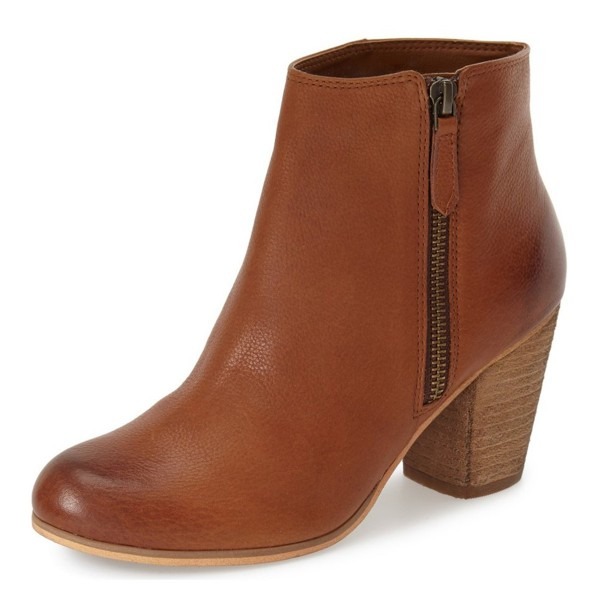 Chunky Heel Vintage Tan Boots Round Toe Patent Leather Ankle Boots image 1