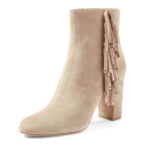 Beige Fringe Boots Chunky Heel Suede Shoes with Silver Studs image 1