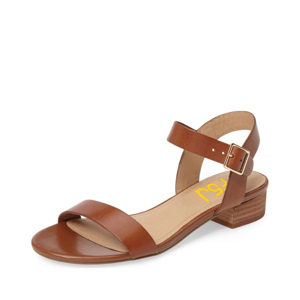 Tan Sandals Open Toe Comfortable Flats Vegan Leather Summer Sandals image 1