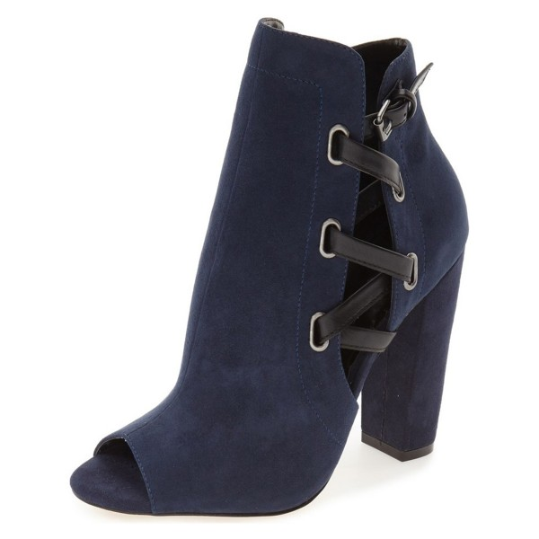 Women's Navy Peep Toe Suede Lace Up Short Chunky Heel Boots image 1