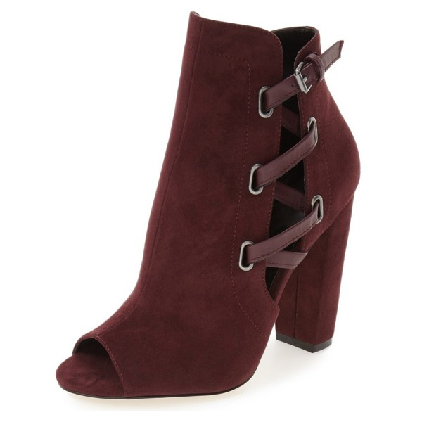 Women's Burgundy Suede Chunky Heel Boots Peep Toe Lace Up Ankle Booties image 1