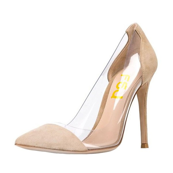 Clear Heels Beige Suede Pointy Toe Stiletto Heels Pumps image 1
