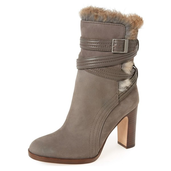 Brown Chunky Heel Boots Round Toe Winter Ankle Boots image 1