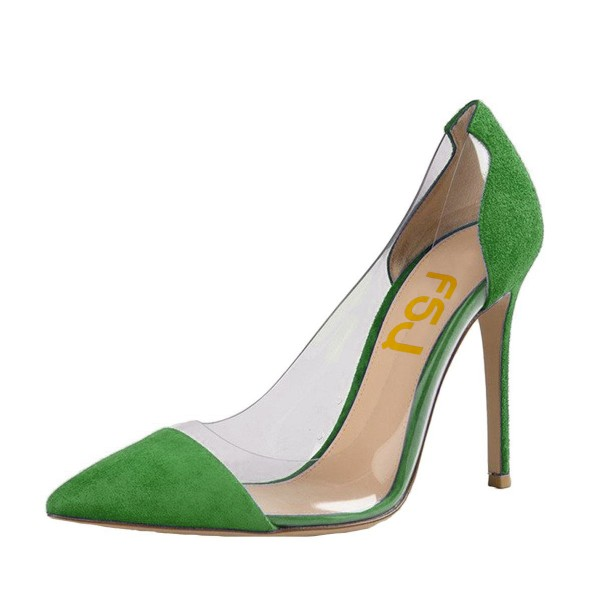 Womens 4 Inch Heels Green Pointed Toe Clear Heels Stiletto Heel Pumps Image