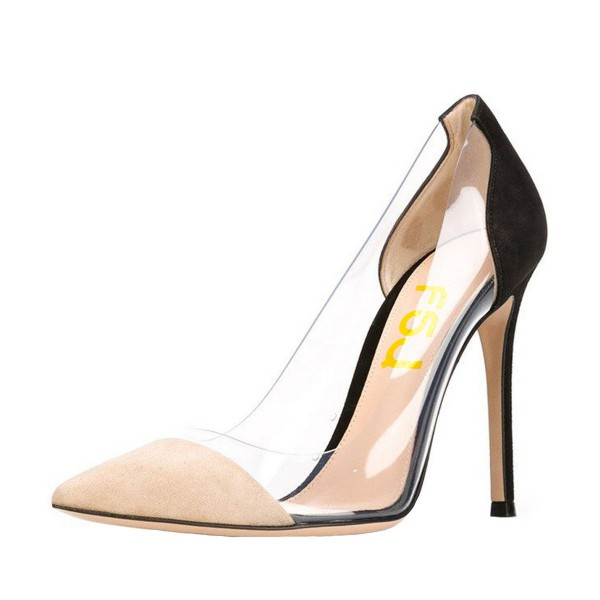 Nude and Black Stiletto Heel Pointed Toe Clear Heels Pumps image 1