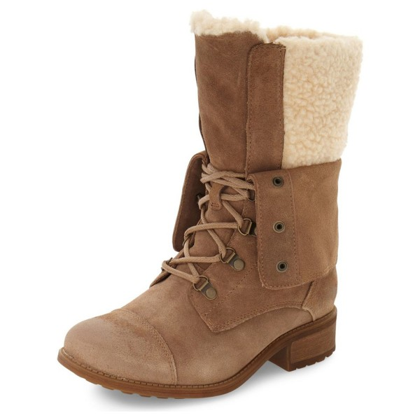 Light Brown Winter Boots Fold-Over Round Toe Lace up Vintage Boots image 1