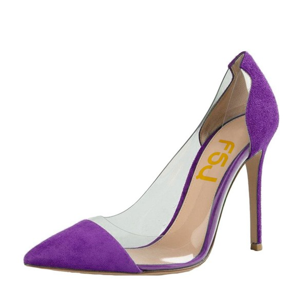 Purple Clear Heels Pointy Toe Stiletto Heels Suede Pumps image 1