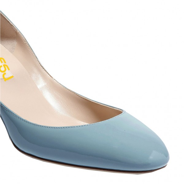 Light Blue Round Toe Block Heel Ankle Strap Pumps for Ladies image 3
