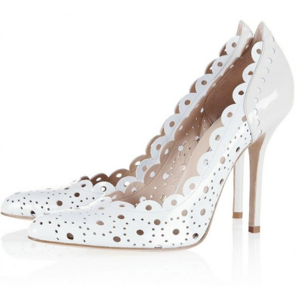 Women's White Heels Hollow out Stilettos Pointed Toe Pumps image 1