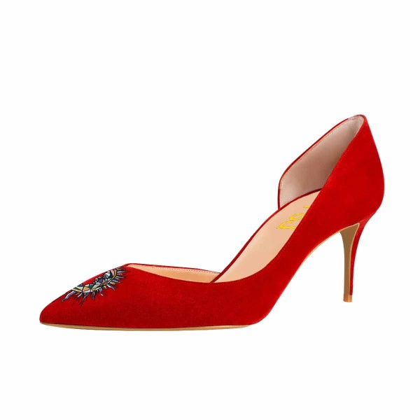 Women's Red Embroidery Pointy Toe Stiletto Heels Suede D'orsay Pumps image 1