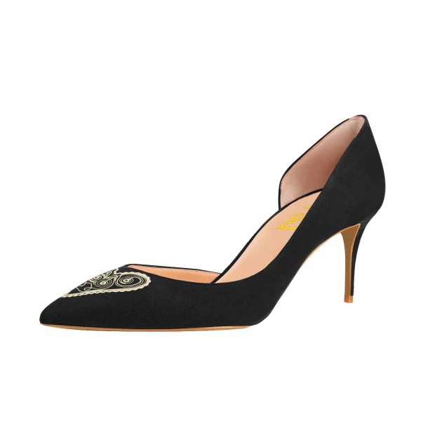 Women's Lelia Black Heart Shape Pattern Print Pointy Toe Stiletto Heels Suede D'orsay Pumps image 1