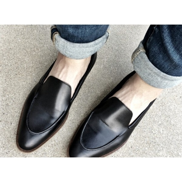 Black Vintage Pointy Toe Comfy Flat Loafers for Women US Size 3-15 image 2