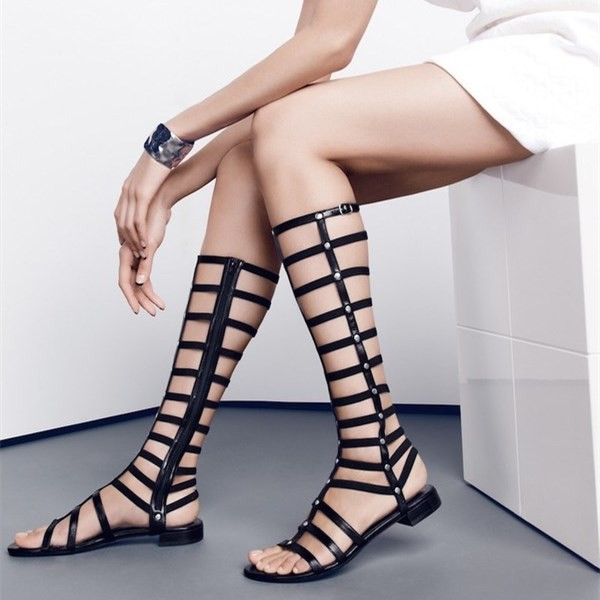 Black Gladiator Sandals Sexy Knee-high Strappy Heels Comfortable Flats image 1