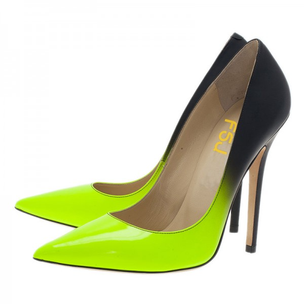 Lime and Black Stiletto Heels Pointy Toe High Heels image 4