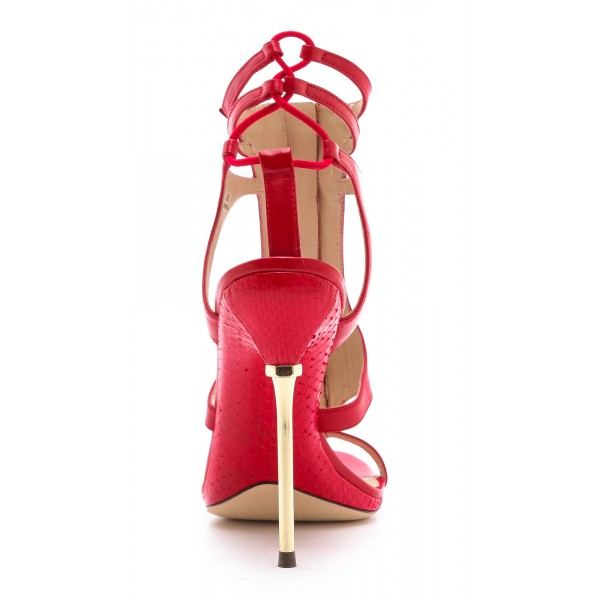 Coral Red Stiletto Heels Dress Shoes Caged Gold Heels Sandals image 3