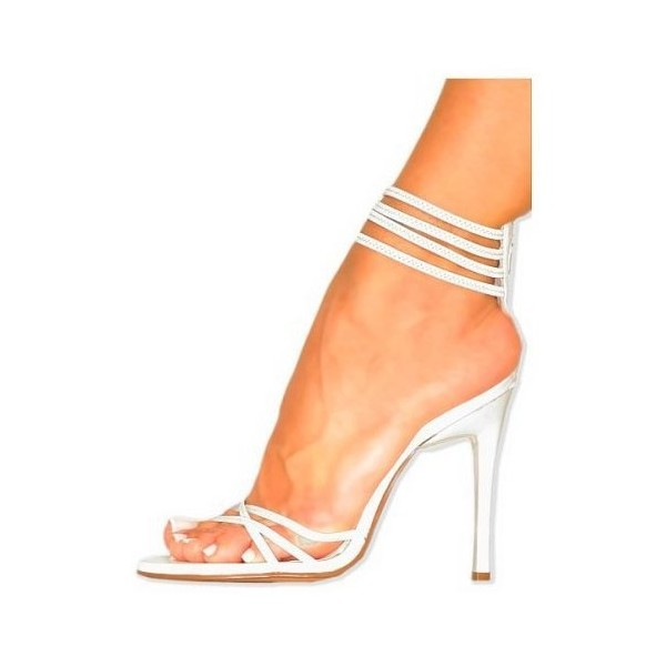2019 White Strappy Sandals Open Toe Ankle Strap Stiletto Heels Shoes image 2