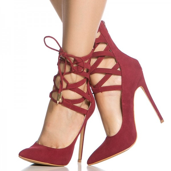 Red Strappy Heels Pointy Toe Lace up Suede Pumps Stiletto Heels image 2