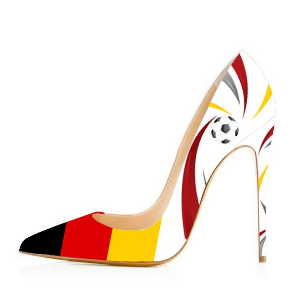 af35ced38f3 Football Lover Germany Printed Pointy Toe Stiletto Heels Design Pumps