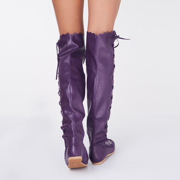 Women's Purple with Strappy Lace-up Vintage Boots image 5