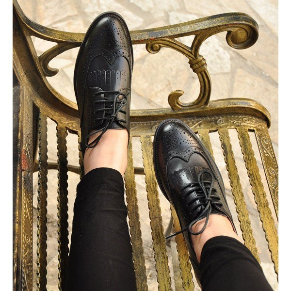 Women's Oxfords Black Fringe Lace-up Vintage Shoes Comfortable Flats image 3