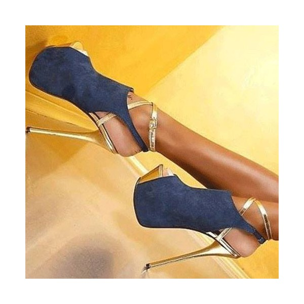 Women's Esther Blue Stiletto Heels Slingback Platform Heels Stripper Shoes image 1