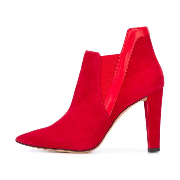 Women's Red Commuting Suede Pointed Toe Chunky Heel Boots  image 2