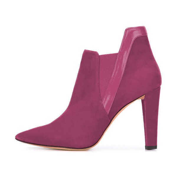 Women's Plum Commuting Suede Pointed Toe Chunky Heel Boots image 2