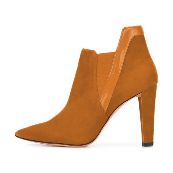 Women's Yellow Suede Commuting Pointed Toe Chunky Heel Boots image 2