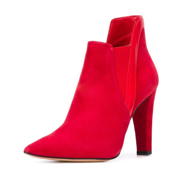 Women's Red Commuting Suede Pointed Toe Chunky Heel Boots  image 1