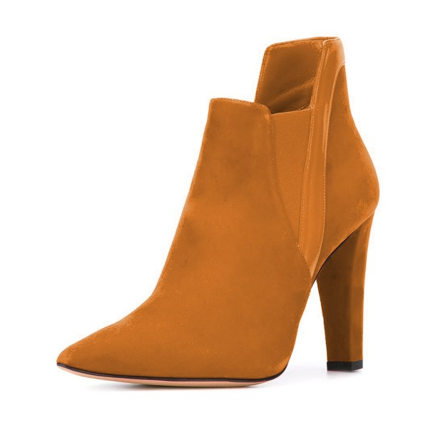 Women's Yellow Suede Commuting Pointed Toe Chunky Heel Boots image 1