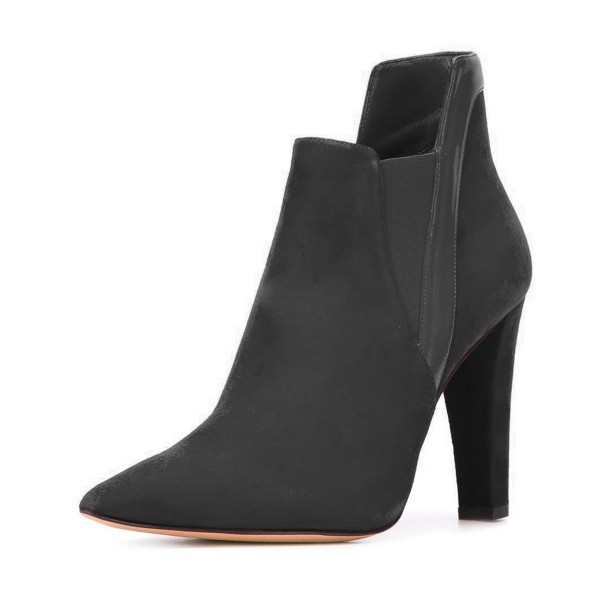 Women's Black Suede Commuting Pointed Toe Chunky Heel Boots image 1