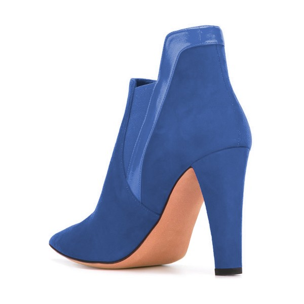 Women's Blue Commuting Suede Peep Toe Ankle Chunky Heel Boots image 3