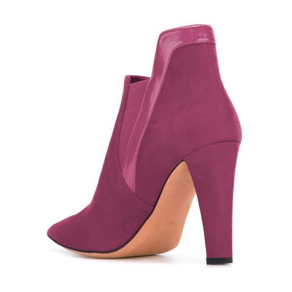 Women's Plum Commuting Suede Pointed Toe Chunky Heel Boots image 3