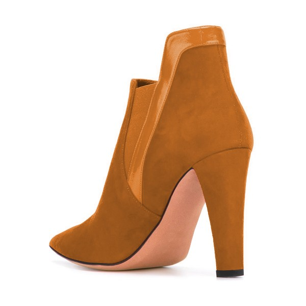 Women's Yellow Suede Commuting Pointed Toe Chunky Heel Boots image 3