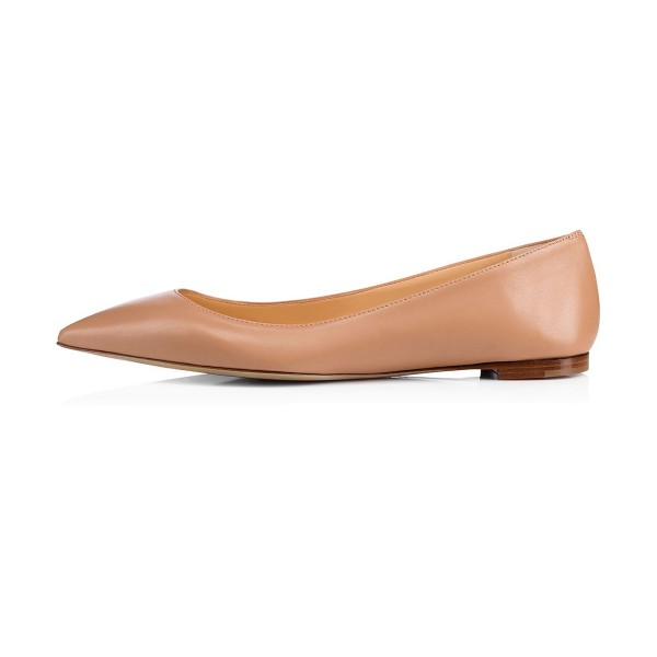 Women's Nude Pointed Toe Comfortable Flats for School image 2