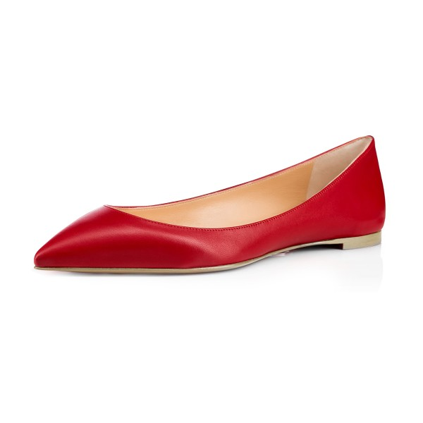 Women's Red Pointed Toe Comfortable Flats image 1