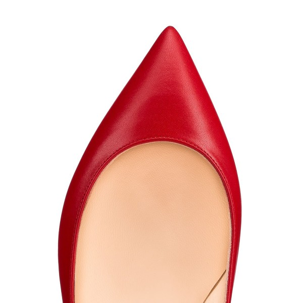 Women's Red Pointed Toe Comfortable Flats image 4