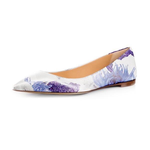 Women's Violet Floral Pointed Toe Comfortable Flats image 1