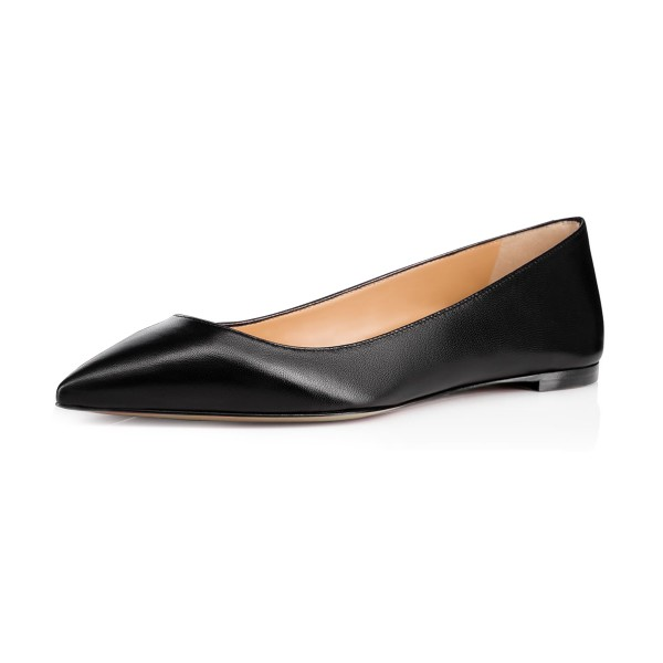 Women's Black School Shoes Pointed Toe Comfortable Flats by FSJ Shoes image 1