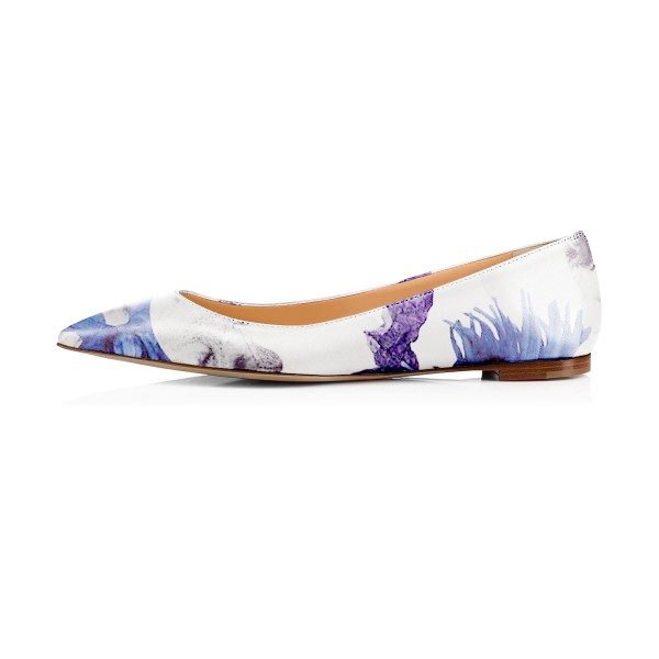 Women's Violet Floral Pointed Toe Comfortable Flats image 2