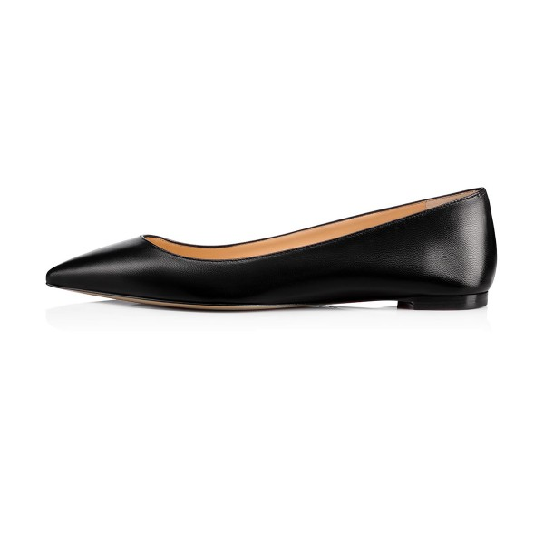 Women's Black School Shoes Pointed Toe Comfortable Flats by FSJ Shoes image 2