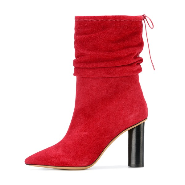 Red Slouch Boots Suede Pointy Toe Block Heel Mid-calf Boots image 3