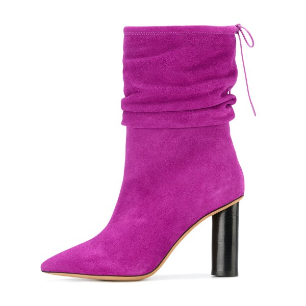 Fuchsia Slouch Boots Suede Pointy Toe Block Heel Mid-calf Boots image 3