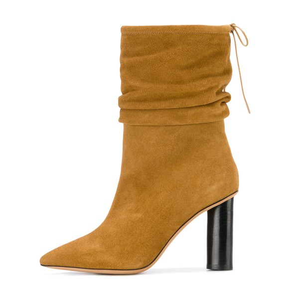 Mustard Slouch Boots Cylindrical Heel Pointy Toe Suede Mid Calf Boots image 3